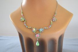 Vintage Necklace - Floral Romantic Design in Pastel Colours with Green Peardrop Jewel Detail